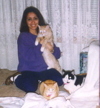 Auntie & cats for front page